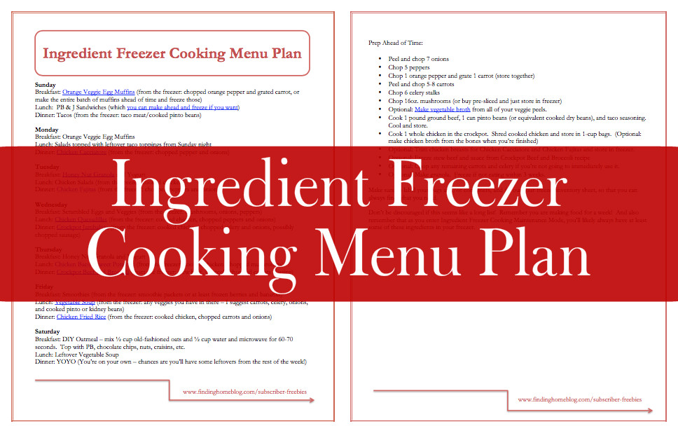 Ingredient Freezer Cooking Free Printable | Finding Home Blog