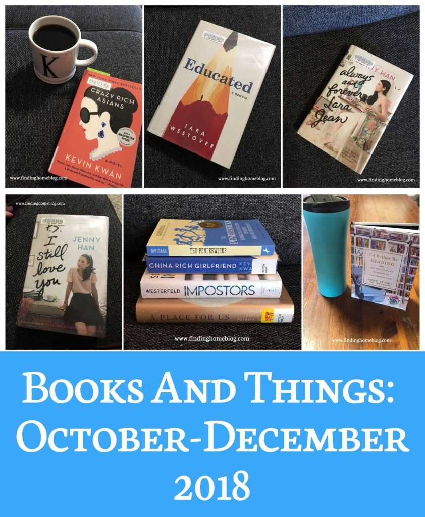 Books and Things: October-December 2018 | Finding Home Blog