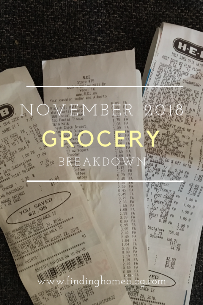Grocery Breakdown: November 2018 | Finding Home Blog