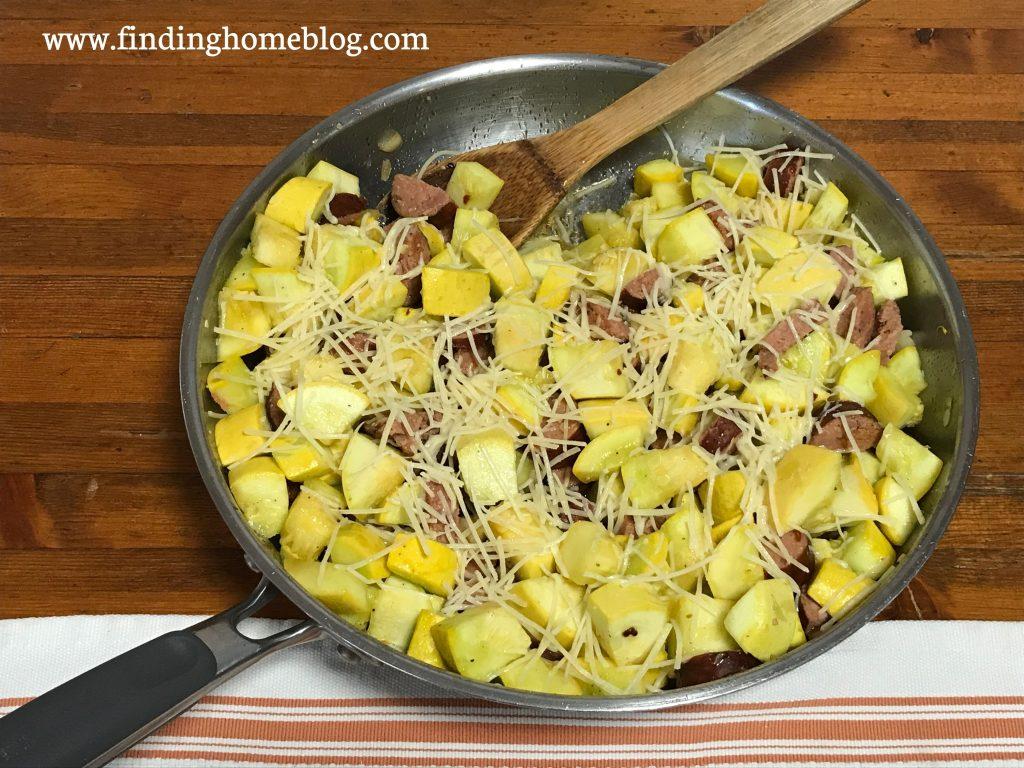 Garlic Parmesan Squash With Sausage | Finding Home Blog