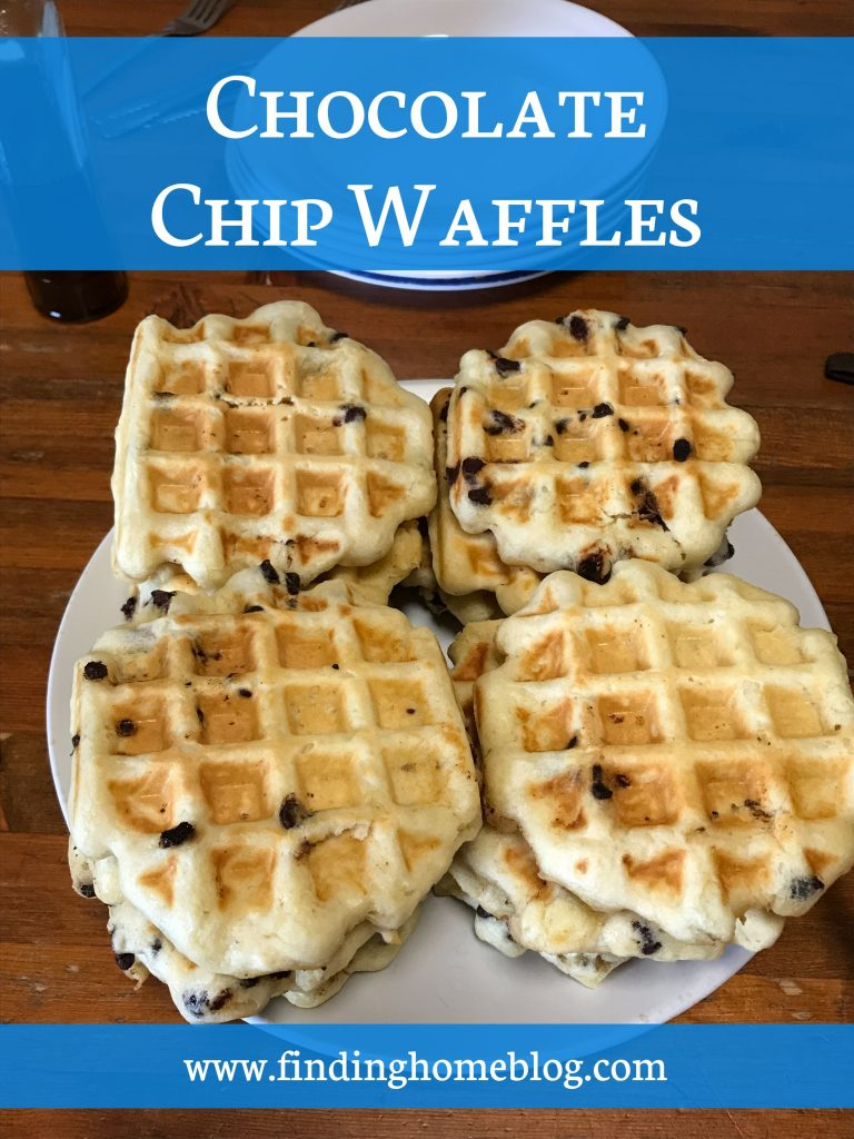 Close up of a plate of waffles with chocolate chips