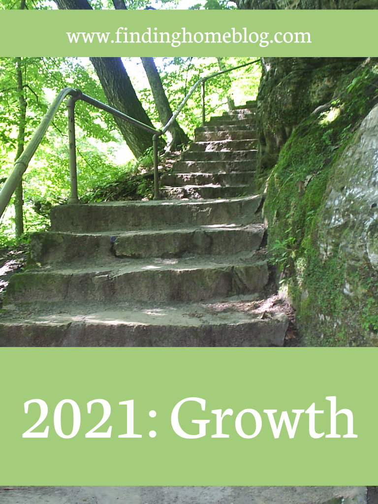 """A stone stairway with a railing on the left and a moss-covered large rock on the right. A banner across the bottom says """"2021: Growth"""""""