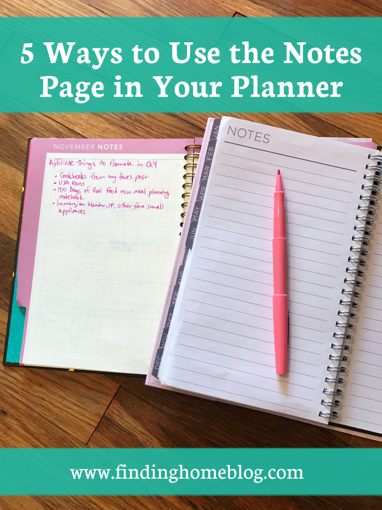 Two spiral bound planners open to the notes page, with an open pen on top.