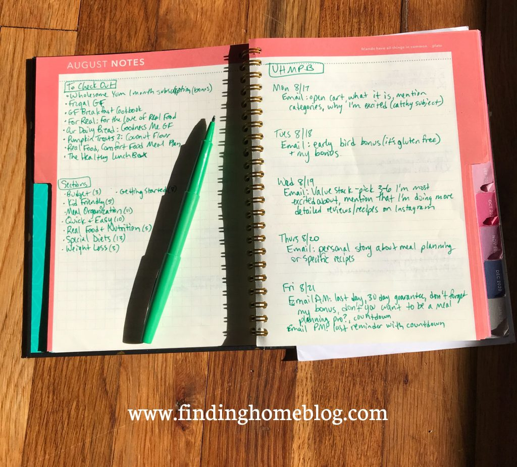 A two-page spread of a planner's notes pages, showing specifics for a past project