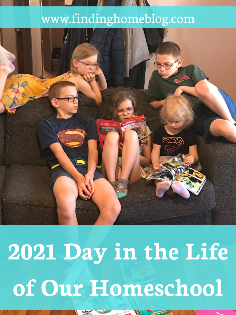 """Five children reading on a couch. Header banner says """"2021 Day in the Life of Our Homeschool"""""""