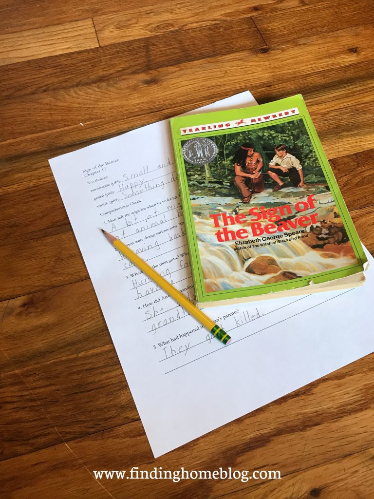 The novel The Sign of the Beaver with a worksheet and pencil