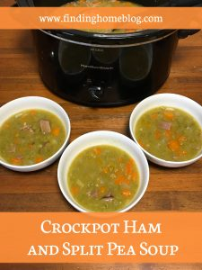 """A crockpot full of split pea soup, with three bowls dished out in front of it. A banner reads """"Crockpot Ham and Split Pea Soup"""""""
