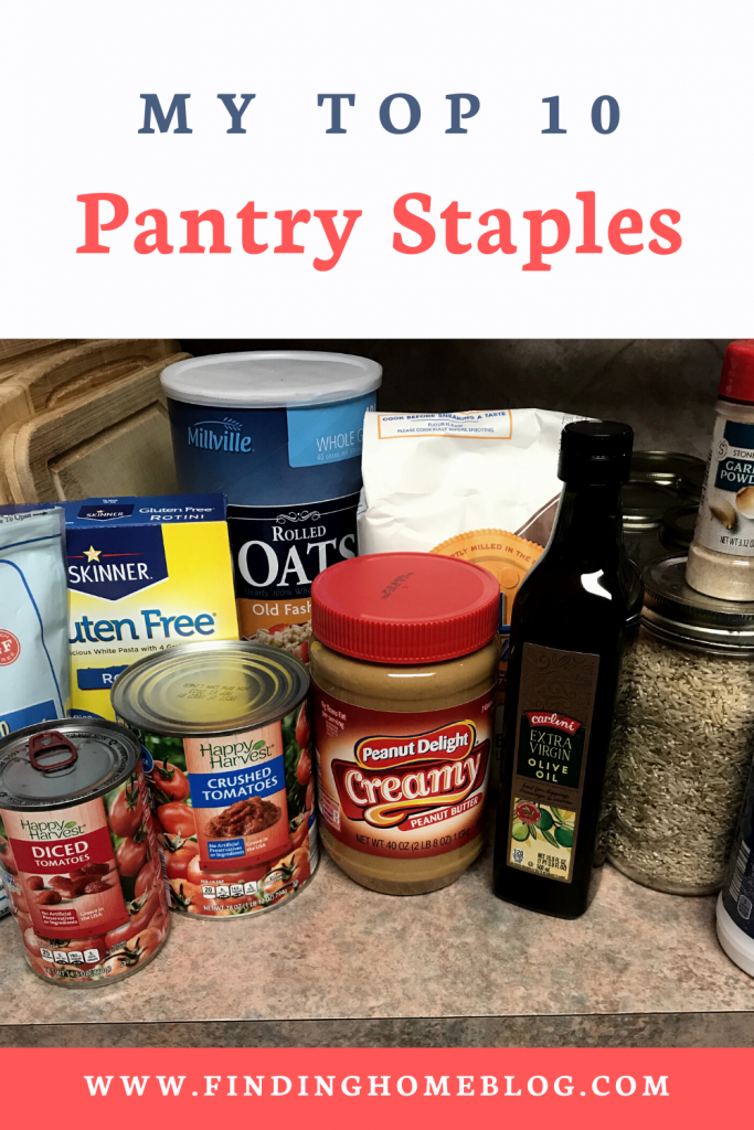 """A variety of pantry goods sitting on a kitchen counter. A banner reads """"My Top 10 Pantry Staples"""""""