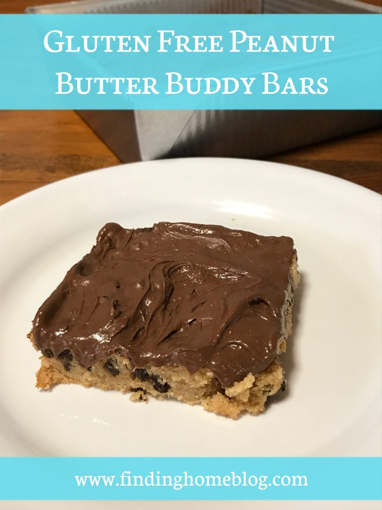 A close up of a peanut butter chocolate chip bar with chocolate frosting on a plate.