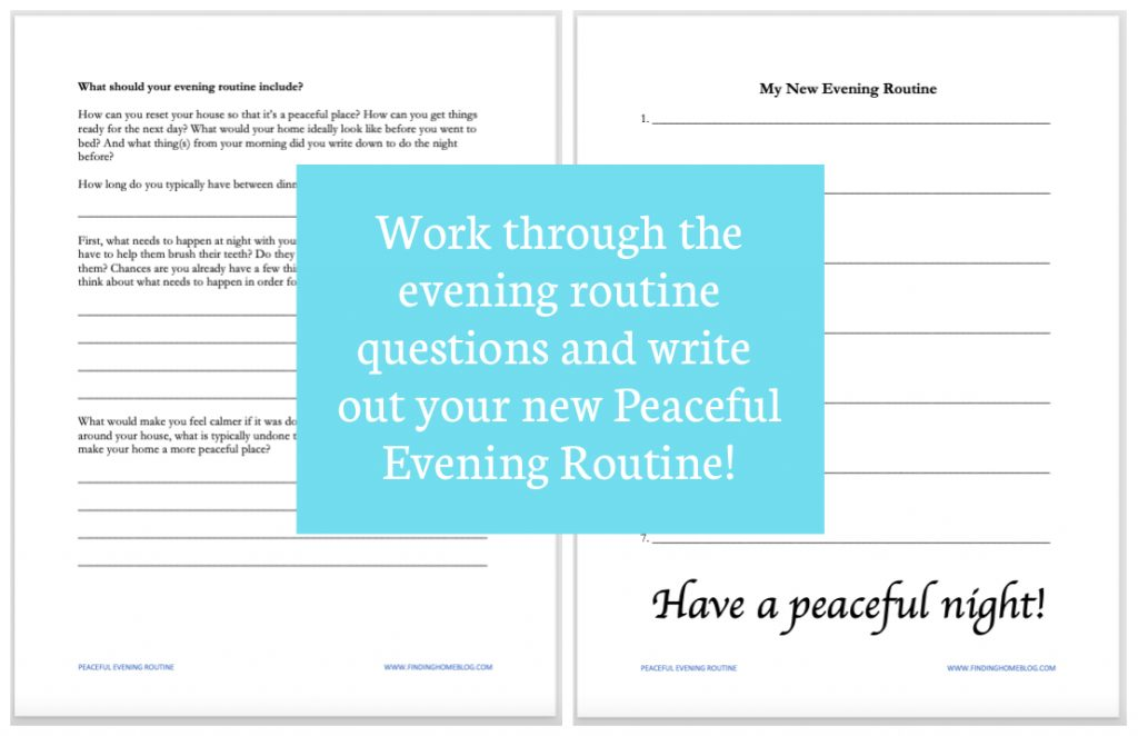 A screenshot of two worksheet pages to create your own evening routine.
