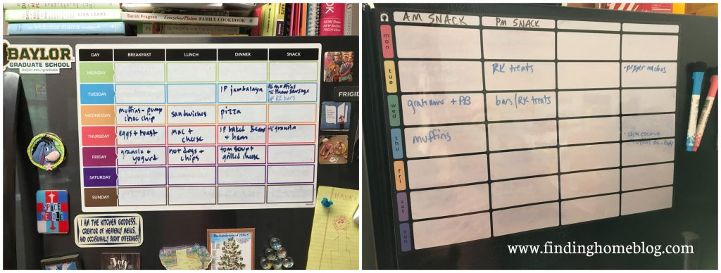Two examples of magnetic menu planning boards attached to a refrigerator, with various magnets and markers nearby
