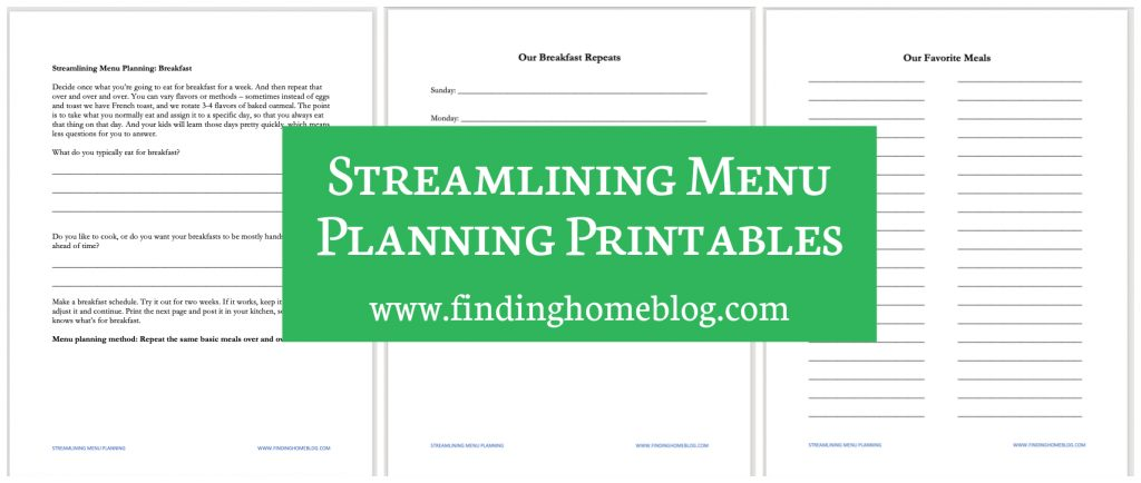 Screenshots of various menu planning printables available